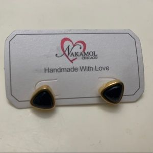 Black and gold triangle stud earrings